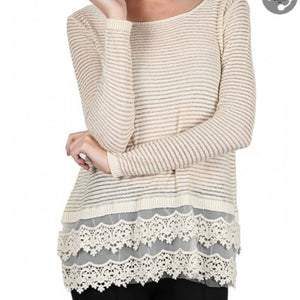 Cream/Gold Cream Knit Top with Open Back
