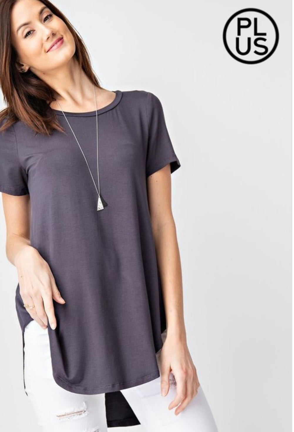 High Low Hem, Round Neck, Short Sleeve Top: Charcoal Slate