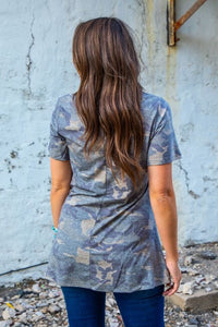 Vintage Camo Top with Twisted Hem