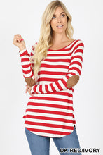 Load image into Gallery viewer, Red/Ivory Stripe Tee with Elbow Patch
