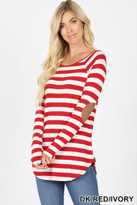 Red/Ivory Stripe Tee with Elbow Patch