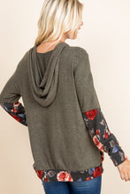 Load image into Gallery viewer, Olive/Floral Color Block Hoodie