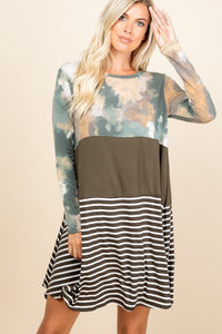 Olive Tie Dye Color Block Dress