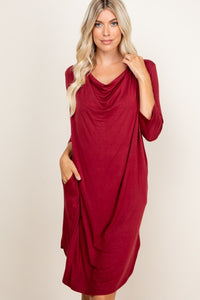 3/4 Sleeve Loose Dress with Pockets, Burgundy