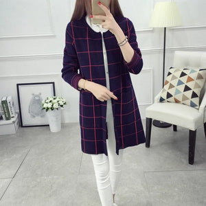 Check Style Long Coat For Women
