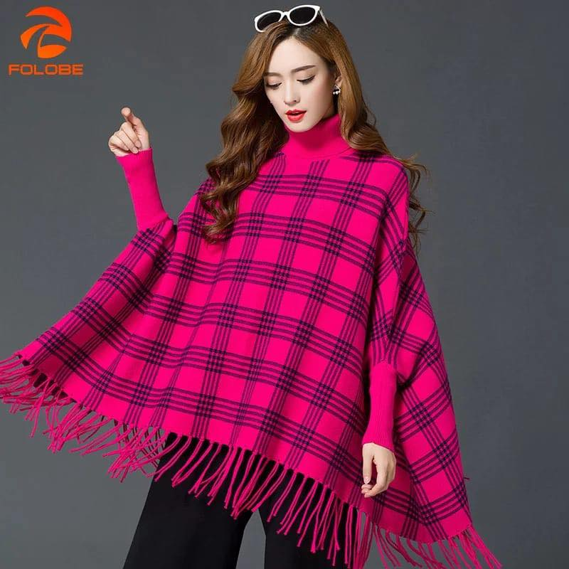 Winter Pink Check Poncho For Girls-Splash Colours
