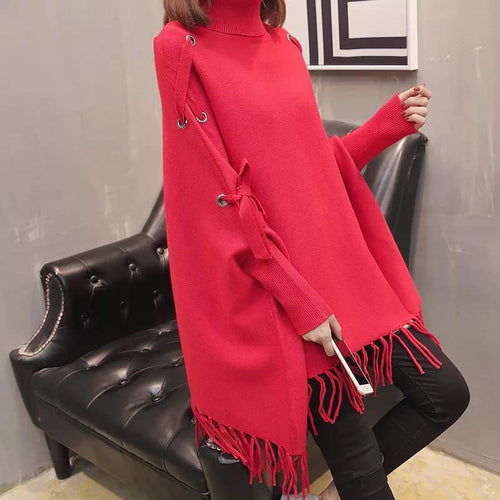 Ribon Winter Poncho For Girls