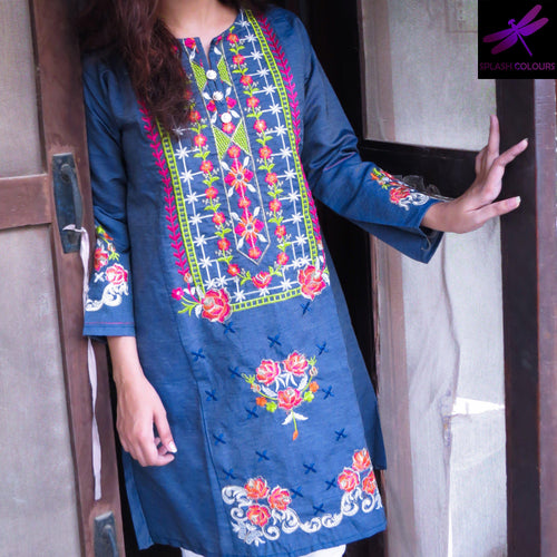 Colourful Denim Embroidered Kurti-Denim-Splash Colours