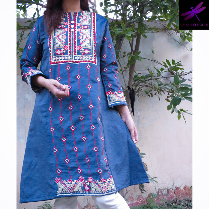 Red Denim Embroidered Kurti Shirt-Denim-Splash Colours