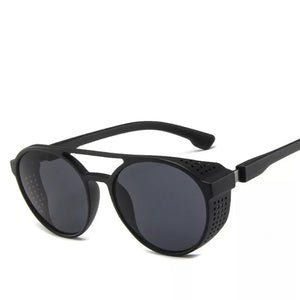 Matte Black Round Sunglasses With Side Grill-Splash Colours