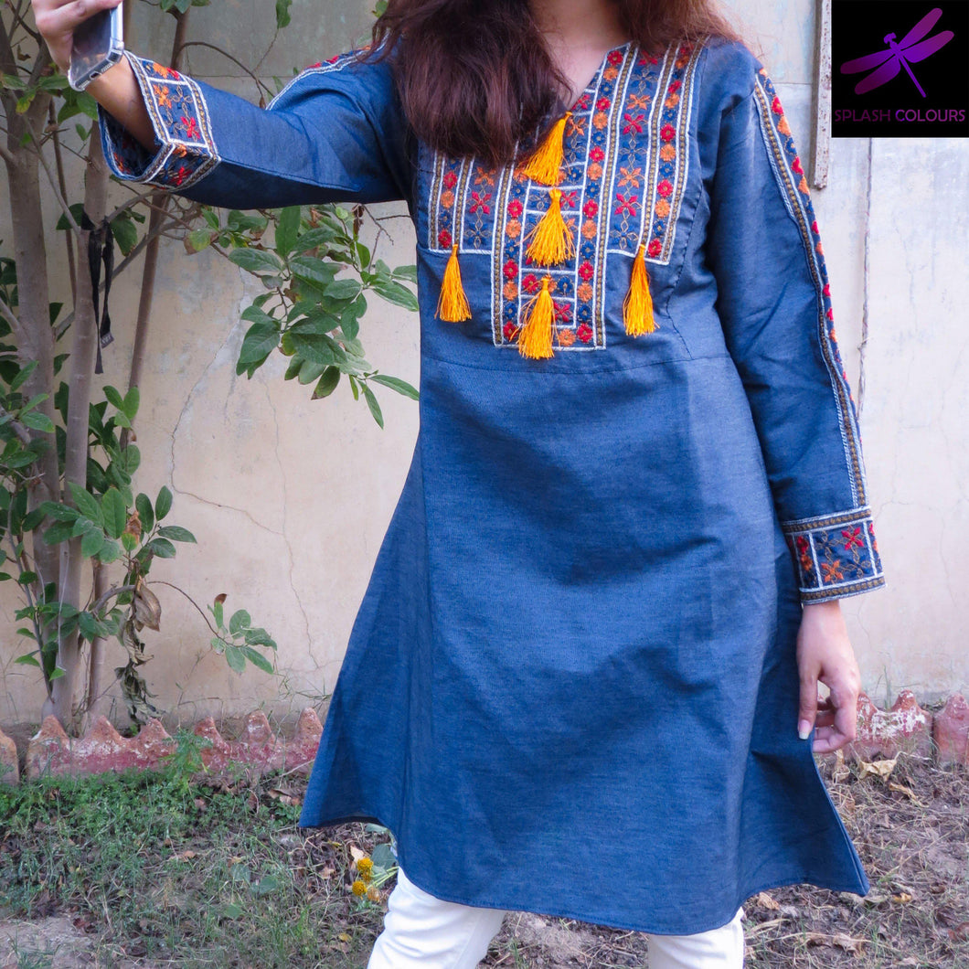 Orange Tussles Embroidered Kurti-Denim-Splash Colours