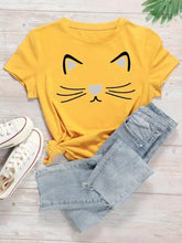 Load image into Gallery viewer, Cat Face T-Shirt For Girls