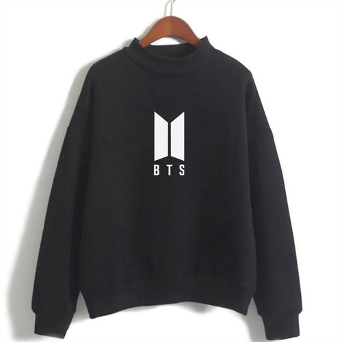 BTS Black Sweatshirt For Women-Cotton-Splash Colours