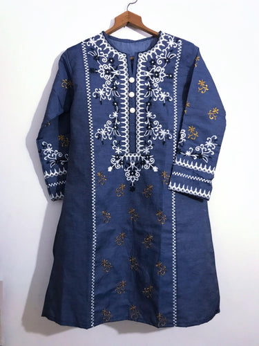 White Elegant Embroidered Kurti-Denim-Splash Colours