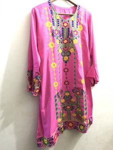 Sindhi Style Embroidered Shirt With Umbrella Style Sleeves Pink-linen-Splash Colours
