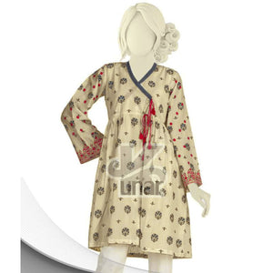 Ladies Angrakha Embroidered Frock With Tassels