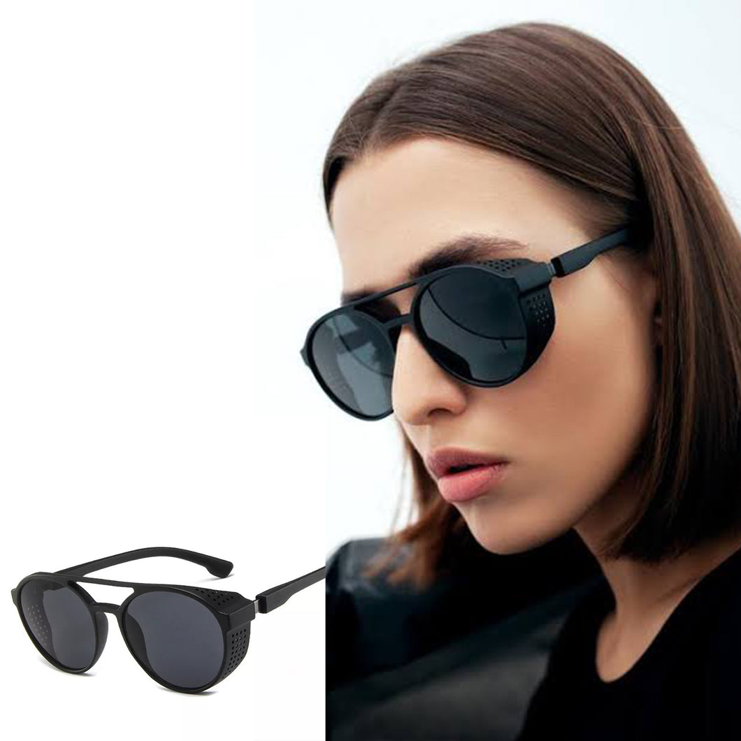 Matte Black Round Sunglasses With Side Grill