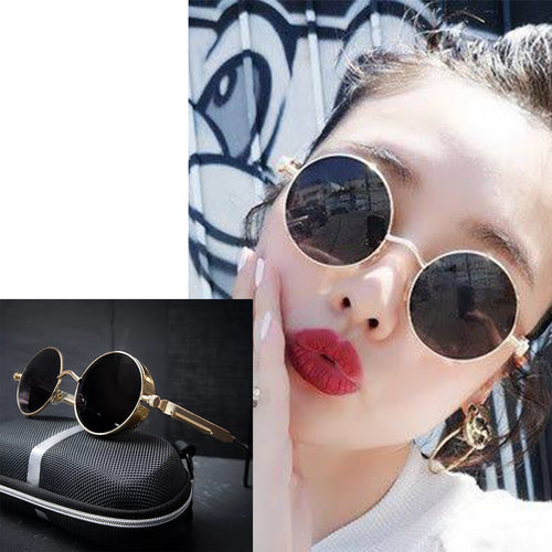 Round Metal Steam Punk Sunglasses With Box-Splash Colours