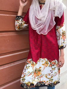 Red With Black Check Kurti