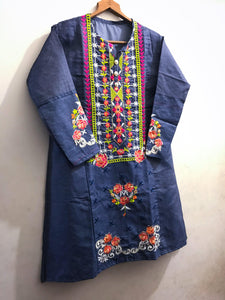 Colourful Denim Embroidered Kurti-Splash Colours