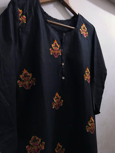 Embroidered Bunches On Shirt With Embroidered Daman-Cotton-Splash Colours