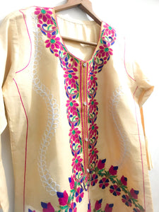 Desi Style Kurta With Buttons And Fully Embroidered-Cotton-Splash Colours