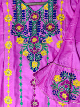 Load image into Gallery viewer, Sindhi Style Embroidered Shirt With Umbrella Style Sleeves Pink-linen-Splash Colours