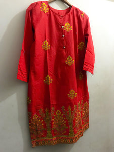 Embroidered Bunches On Shirt With Embroidered Daman Red-Cotton-Splash Colours