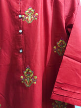 Load image into Gallery viewer, Embroidered Bunches On Shirt With Embroidered Daman Red-Cotton-Splash Colours