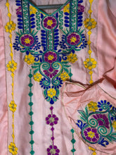 Load image into Gallery viewer, Sindhi Style Embroidered Shirt With Umbrella Style Sleeves Peach-linen-Splash Colours