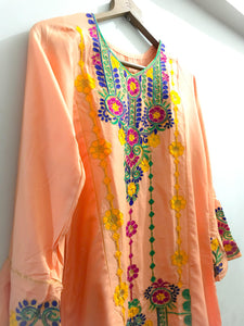 Sindhi Style Embroidered Shirt With Umbrella Style Sleeves Peach-linen-Splash Colours