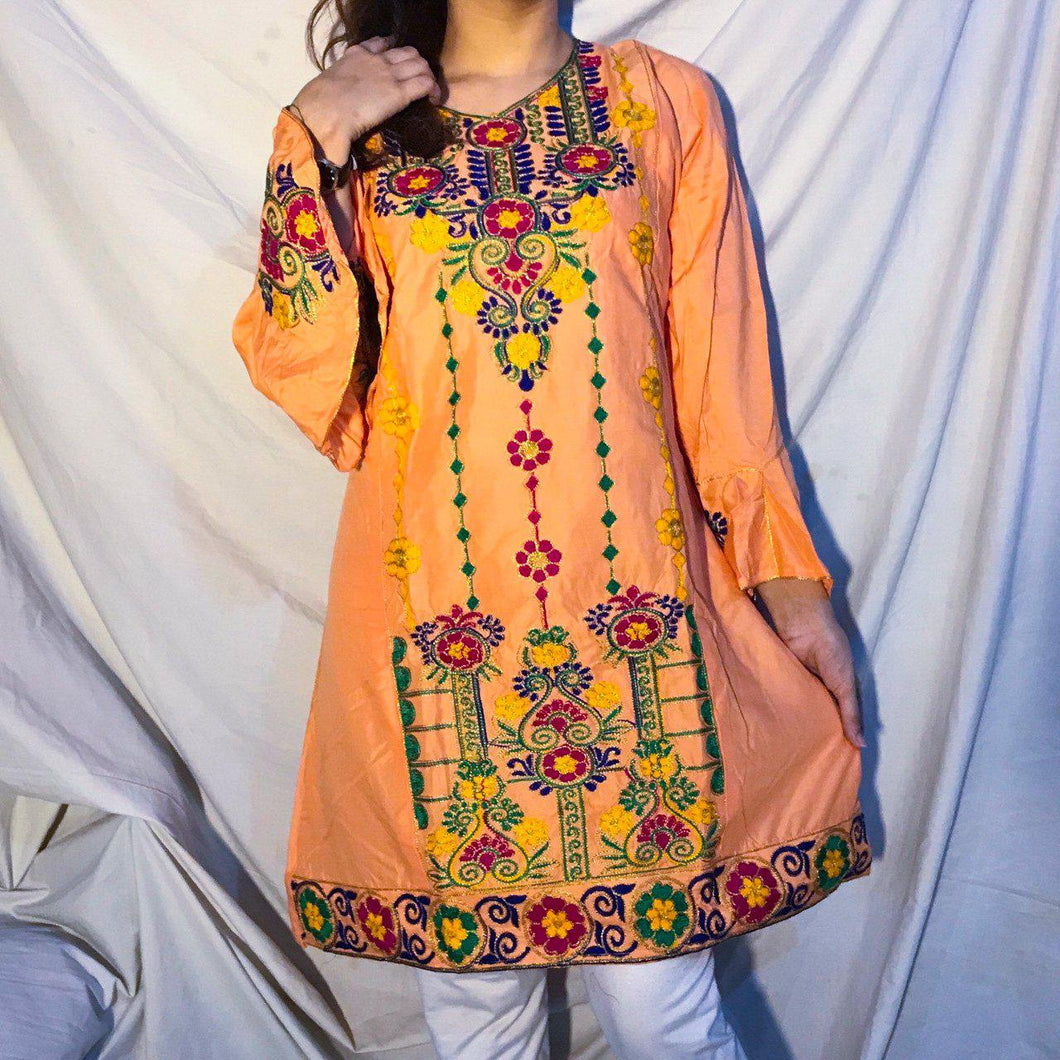 Sindhi Style Embroidered Shirt With Umbrella Style Sleeves Peach