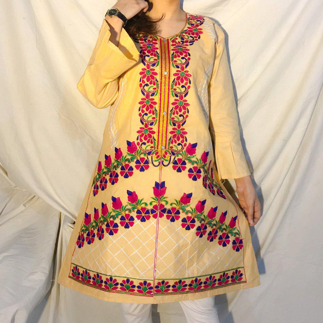 Desi Style Kurta With Buttons And Fully Embroidered