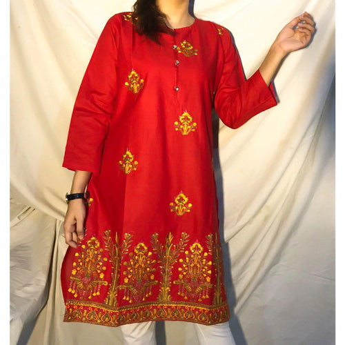 Embroidered Bunches On Shirt With Embroidered Daman Red