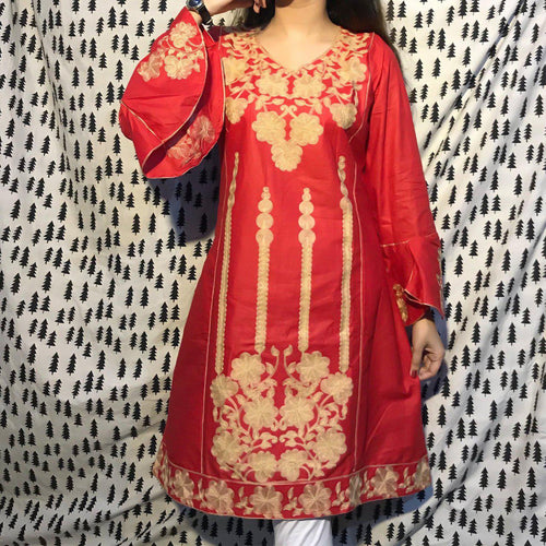 Desi Style Kurta Red, Fully Embroidered Front With Umbrella Style Sleeves