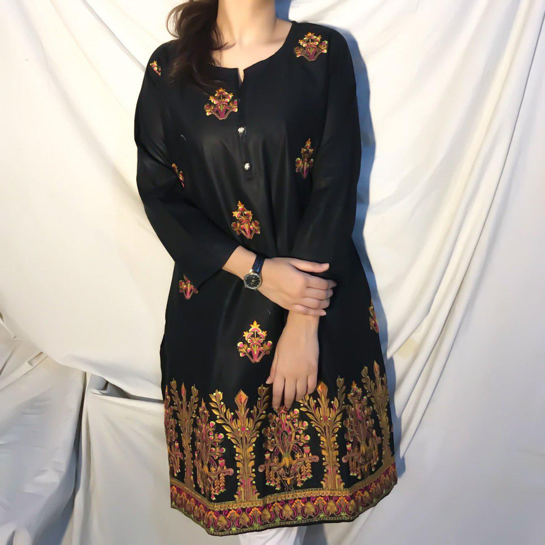 Embroidered Bunches On Shirt With Embroidered Daman