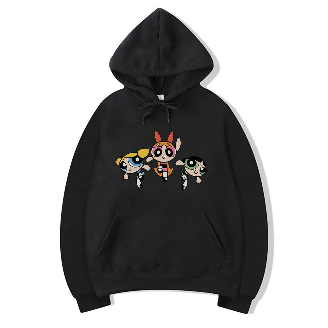 Power Puff Girls Hoodie For Women-Cotton-Splash Colours