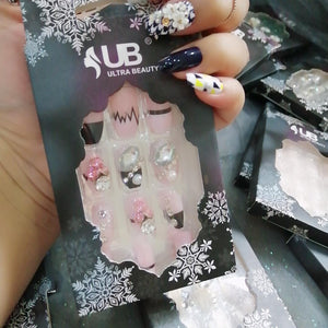 Ultra Beauty 3D Stone Nails Pink with Black