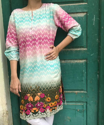 Aqua Breeze Kurti-Lawn-Splash Colours