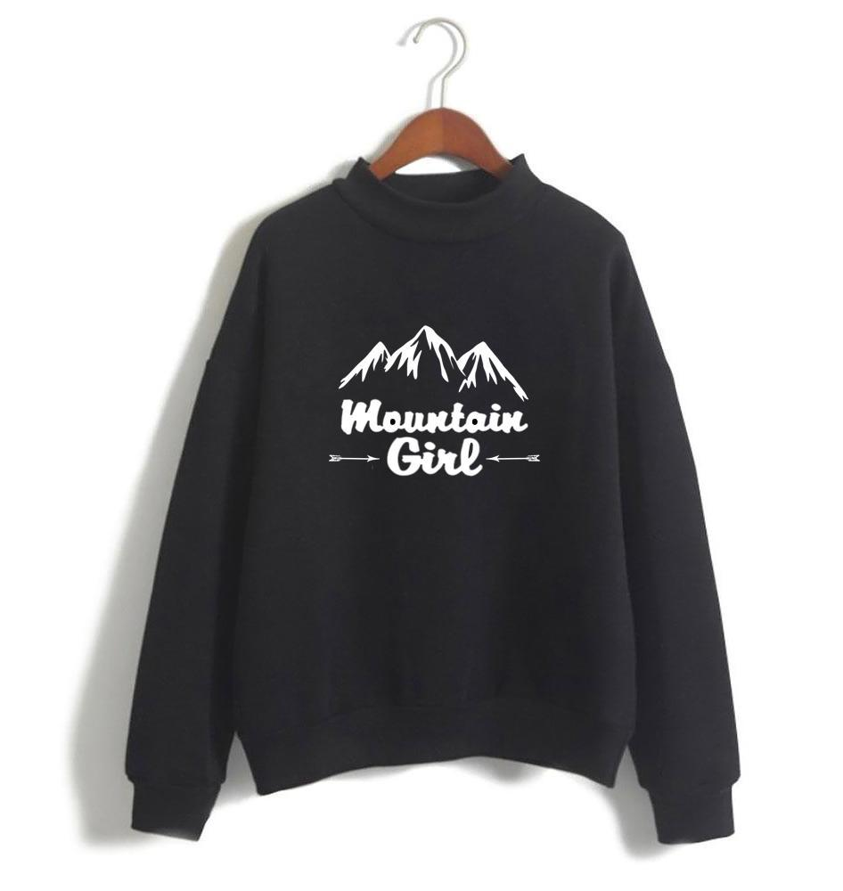 Mountain Girl White/Black Sweatshirt for Women-Cotton-Splash Colours