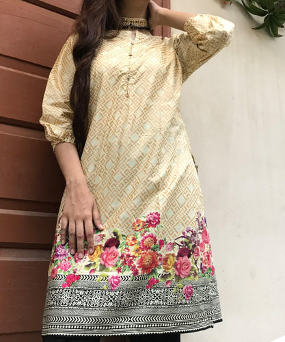 Golden With Colourful Floral Style Kurti-Splash Colours