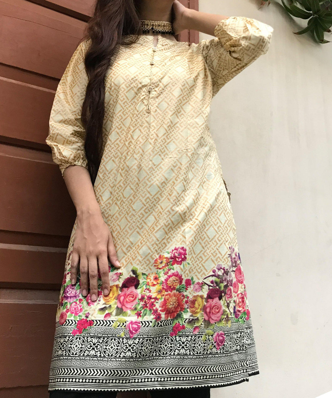Golden With Colourful Floral Style Kurti-Lawn-Splash Colours