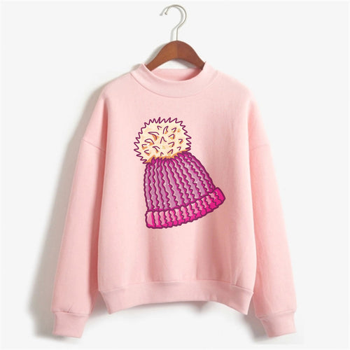 Woolly Hat Sweat Shirt For Women-Cotton-Splash Colours