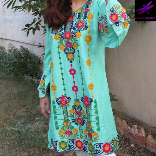 Sindhi Style Embroidered Shirt With Umbrella Style Sleeves Sea Green-linen-Splash Colours