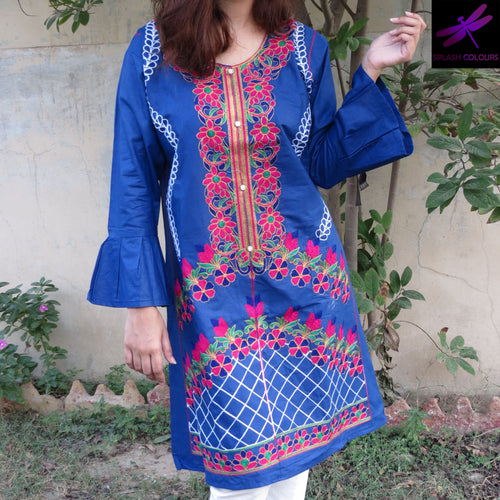 Desi Style Kurta With Buttons And Fully Embroidered Blue-Cotton-Splash Colours