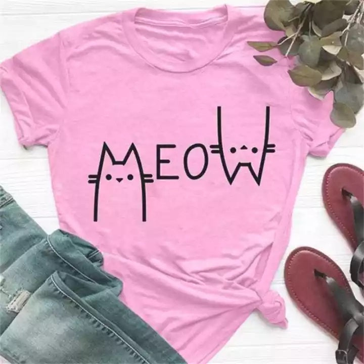 Meow T-Shirt For Girls