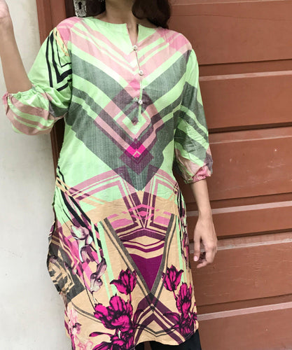 Pink Green Triangle Style Kurti-Lawn-Splash Colours