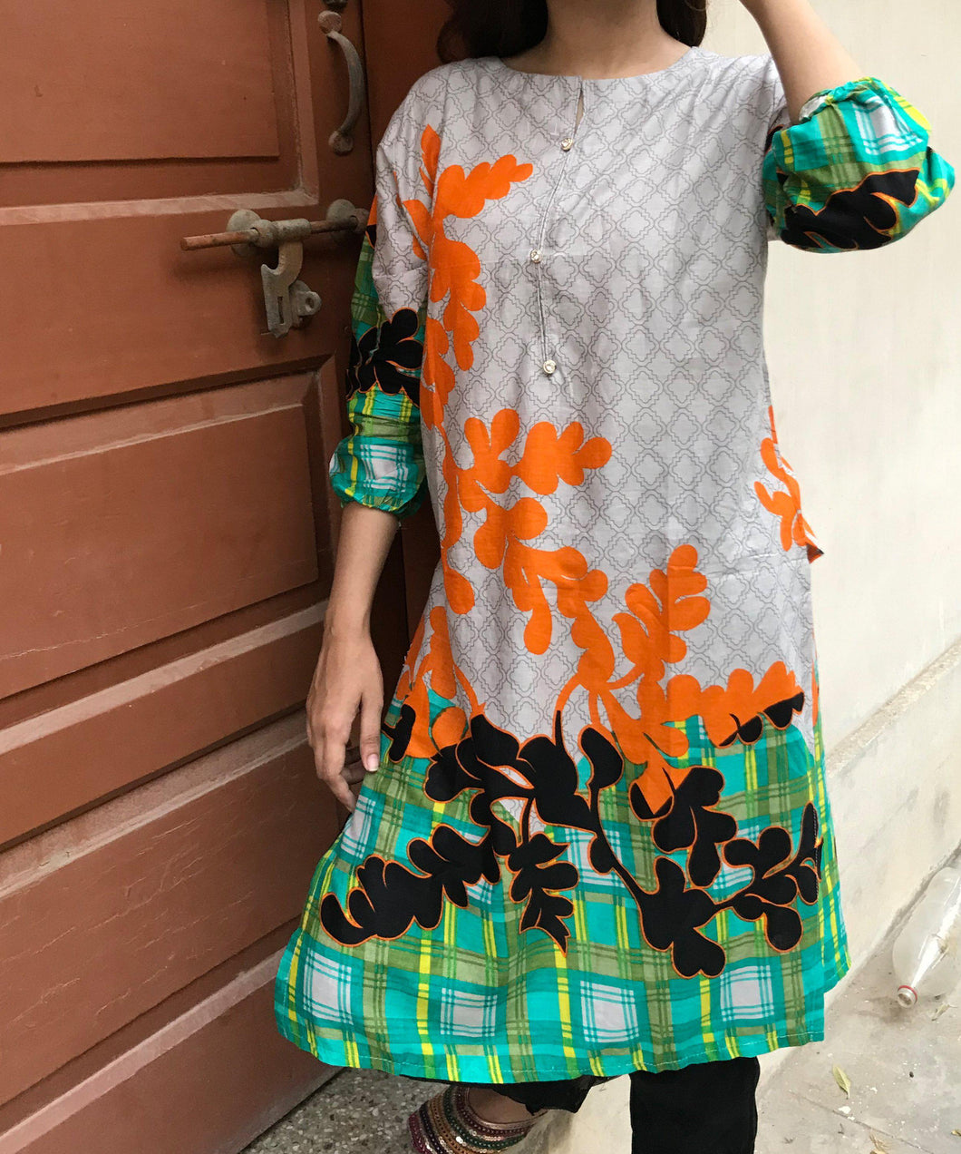 Grey With Orange Style Kurti-Lawn-Splash Colours