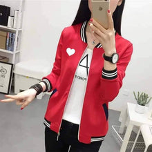 Load image into Gallery viewer, Heart Bomber Varsity Jacket For Women-Splash Colours