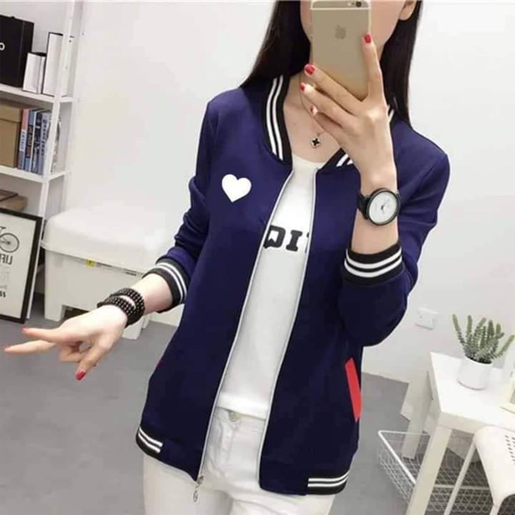 Heart Bomber Varsity Jacket For Women